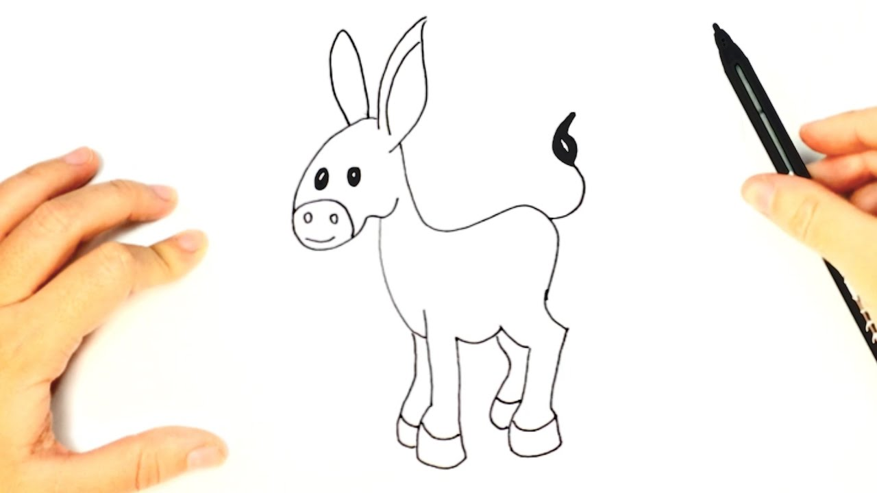 How To Draw A Donkey For Kids Donkey Easy Draw Tutorial Youtube