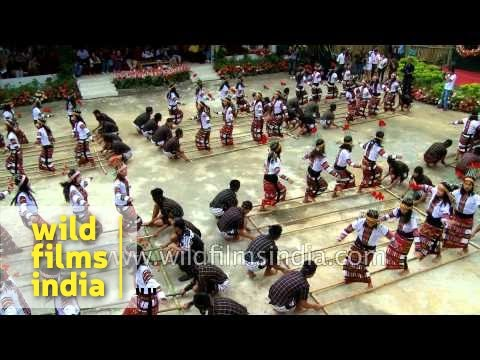 Mass bamboo dance at Reiek, Mizoram