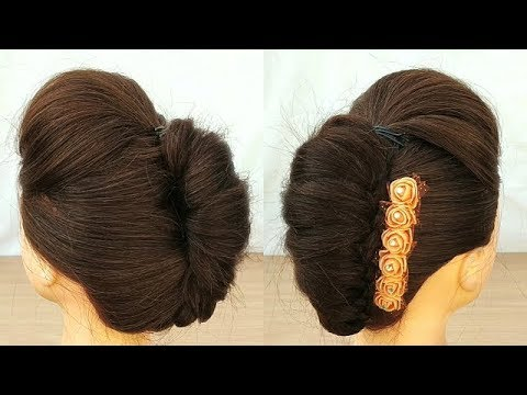 Beautiful French Roll Hairstyle For Wedding Easy Way To Make French Roll Hairstyle With Puff Youtube