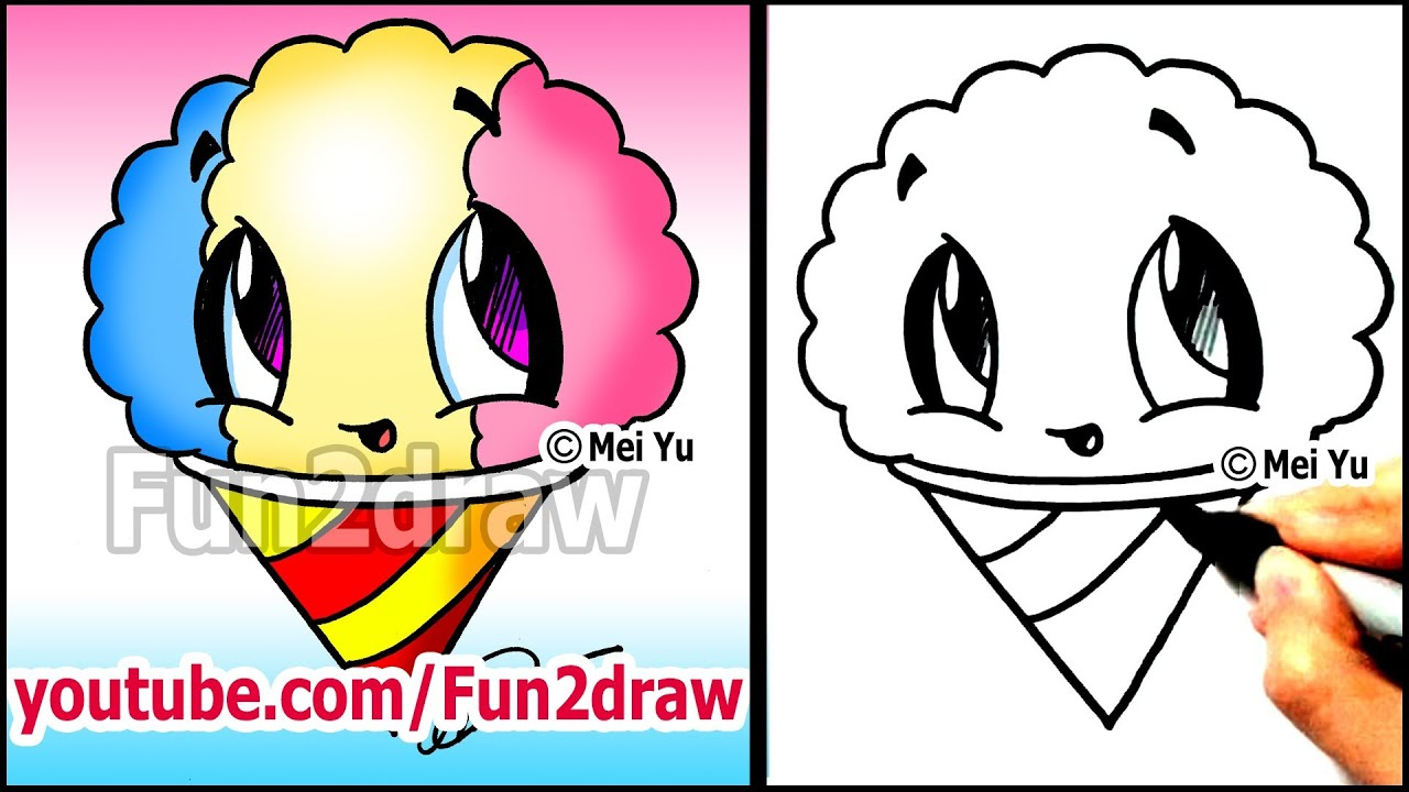 Fun2draw Mustache Summer Snacks How To Draw A Snow Cone Youtube