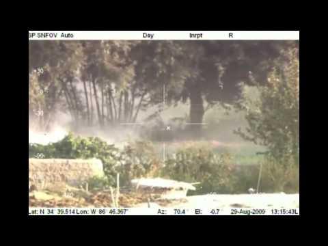 Taliban member tries to outrun an excalibur artillery round