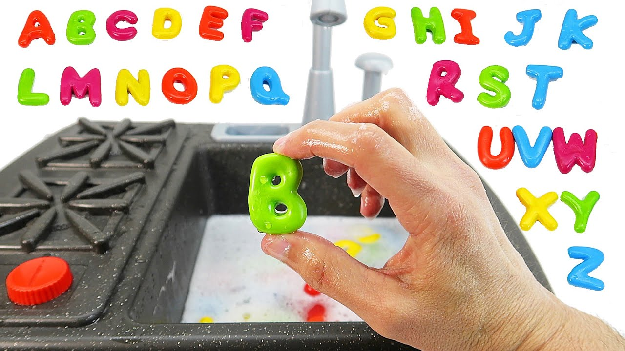 Learning Alphabet Letters ABC Learning Fun with Kitchen Toys for
