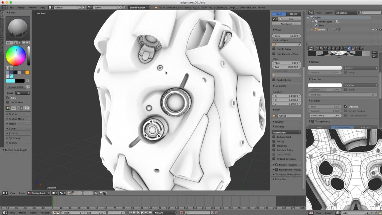 Shading in blender baking an edge map using ambient occlusion youtube gumiabroncs Gallery
