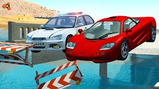 Beamng drive - Police Chases vs. Sports Cars crashes