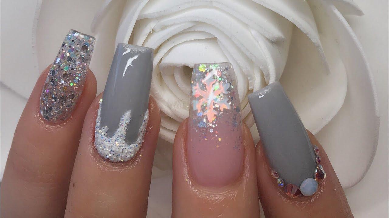 Acrylic Nails Grey Snowflake Nail Prep