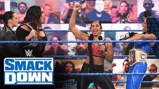Banks and Belair are confronted by the WWE Women's Tag Team Champions: SmackDown, Feb. 12, 2021