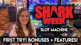 NEW! Shark Week Slot Machine!! Long Session Full Of BONUSES and Random Features!!