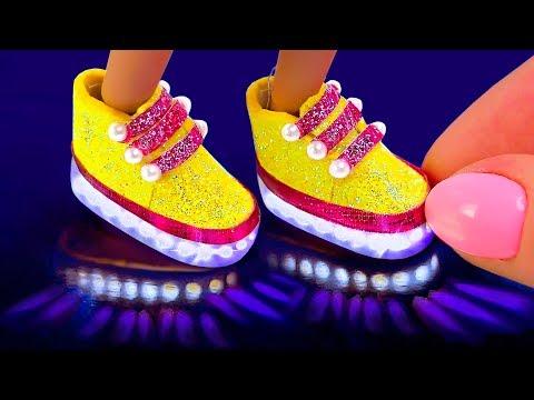 4 DIY Miniature Hacks and Crafts for Barbie! DIY Mini LED Light Up shoes
