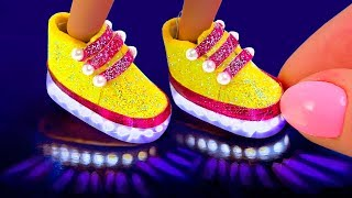 4 DIY Miniature Hacks and Crafts for Barbie! DIY Mini LED Light Up shoes
