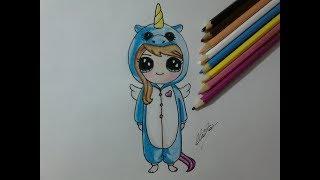 Como desenhar uma bonequinha Kawaii com roupa de unicórnio - How to draw a doll with unicorn clothes