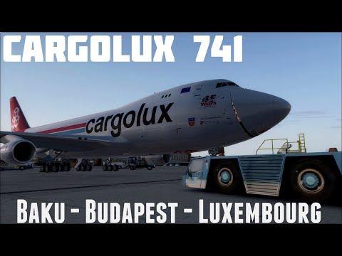 Cargolux ✈747-400F Flightdeck Baku-Budapest-Luxembourg [ IVAO;FSX ]