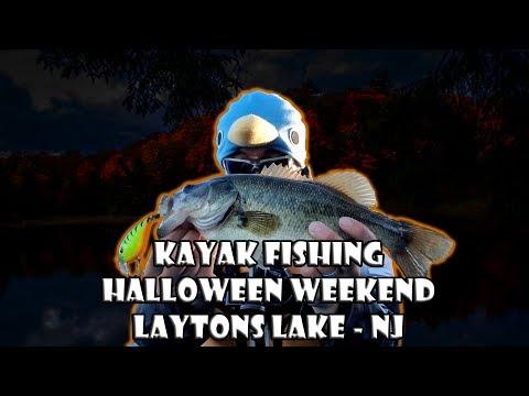 Fall Kayak Fishing Laytons Lake NJ (Halloween Fishing Trip)