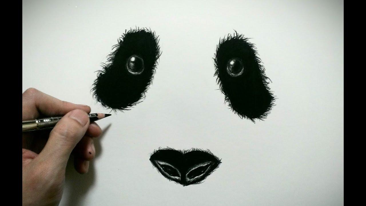 色鉛筆でパンダの顔を描いてみた How To Draw A Panda Youtube