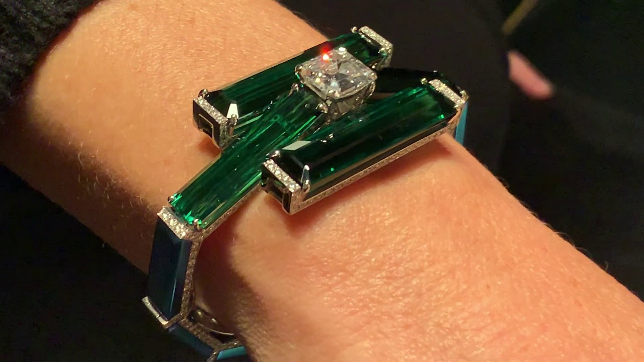 Striking Green Tourmaline and Emerald cut Diamond Bracelet from Fabio Salini