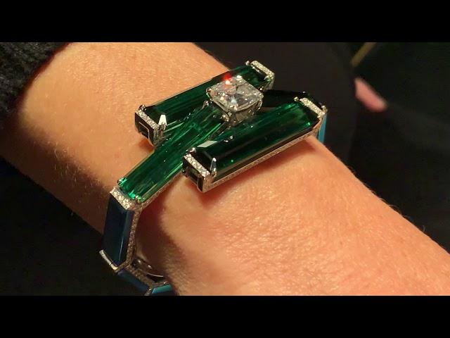 Striking green tourmaline and emerald cut diamond bracelet from Fabio Salini