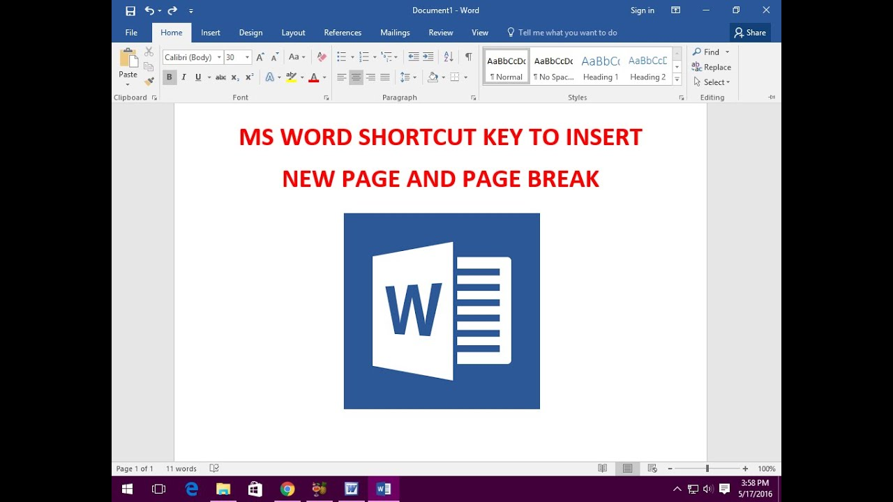 Ms Word Shortcut Key To Insert New Page And Page Break
