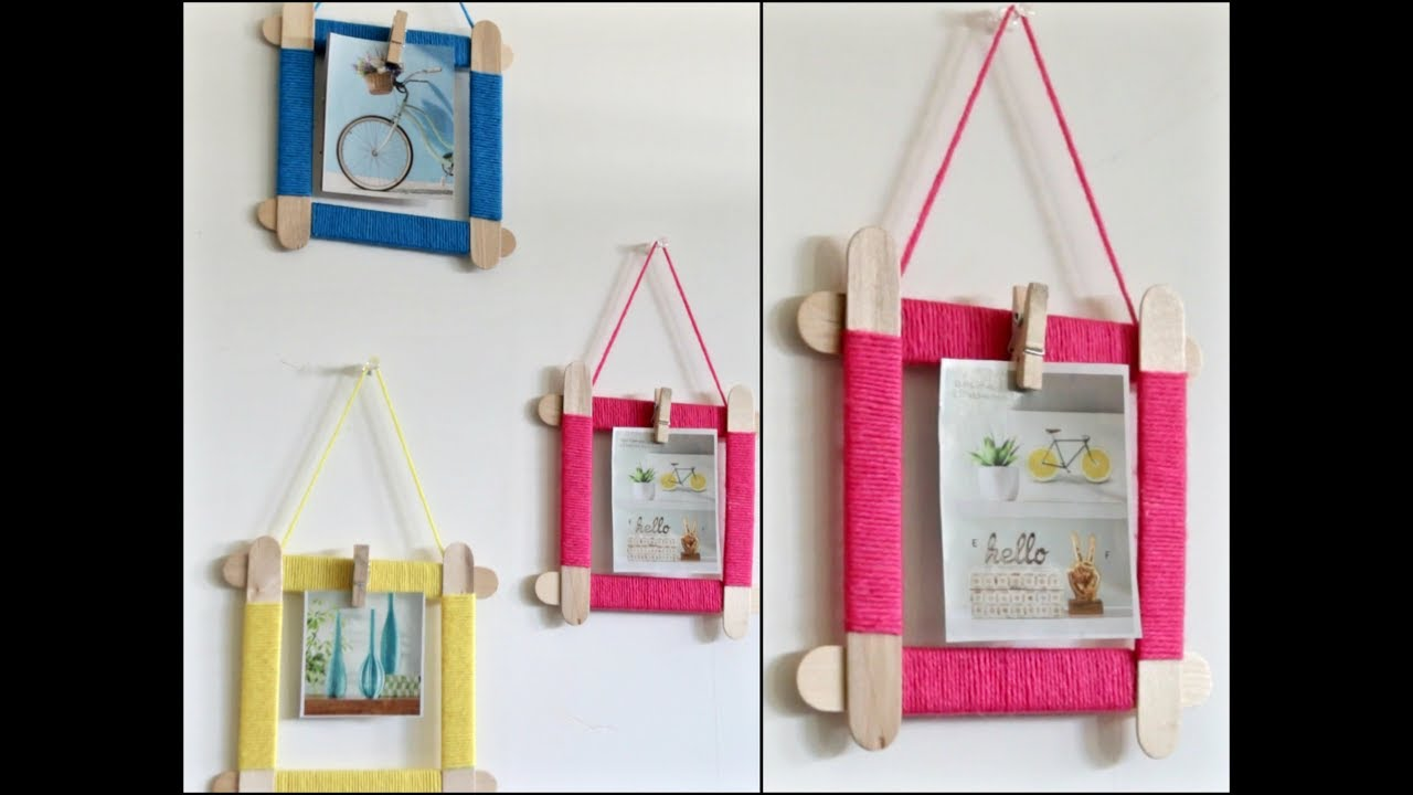 Easy Photo Frame From Popsicle Sticks || Popsicle Sticks Crafts ...