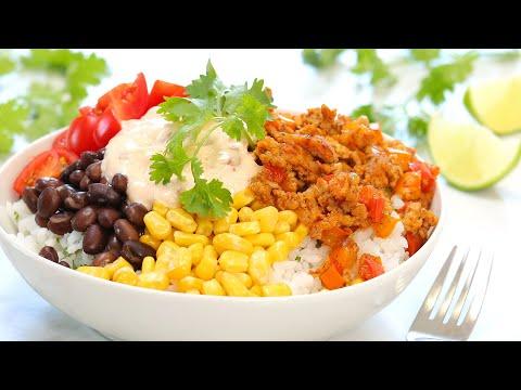 Chipotle Chicken Burrito Bowl | 20 Minute Meal Prep | Healthy + Quick + Easy