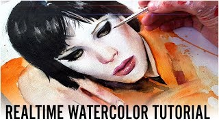 【Realtime Tutorial】Watercolor Portrait & Dripping Technique