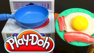 Play Doh kitchen fried egg bacon by Unboxingsurpriseegg