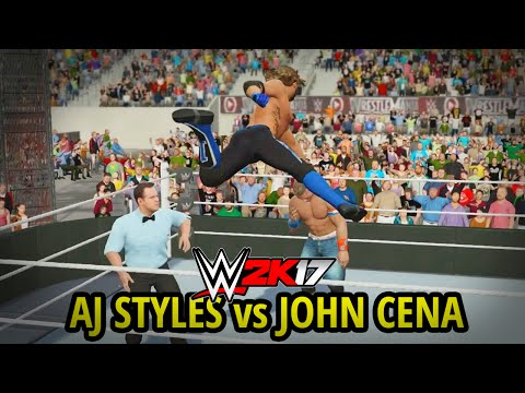 WWE 2K17 - AJ STYLES vs JOHN CENA!! (FULL MATCH GAMEPLAY w/ DAYTIME ARENA!!) thumbnail