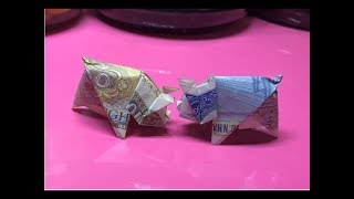 Cách gấp con lợn, con heo bằng tiền giấy cực dễ Origami money pig