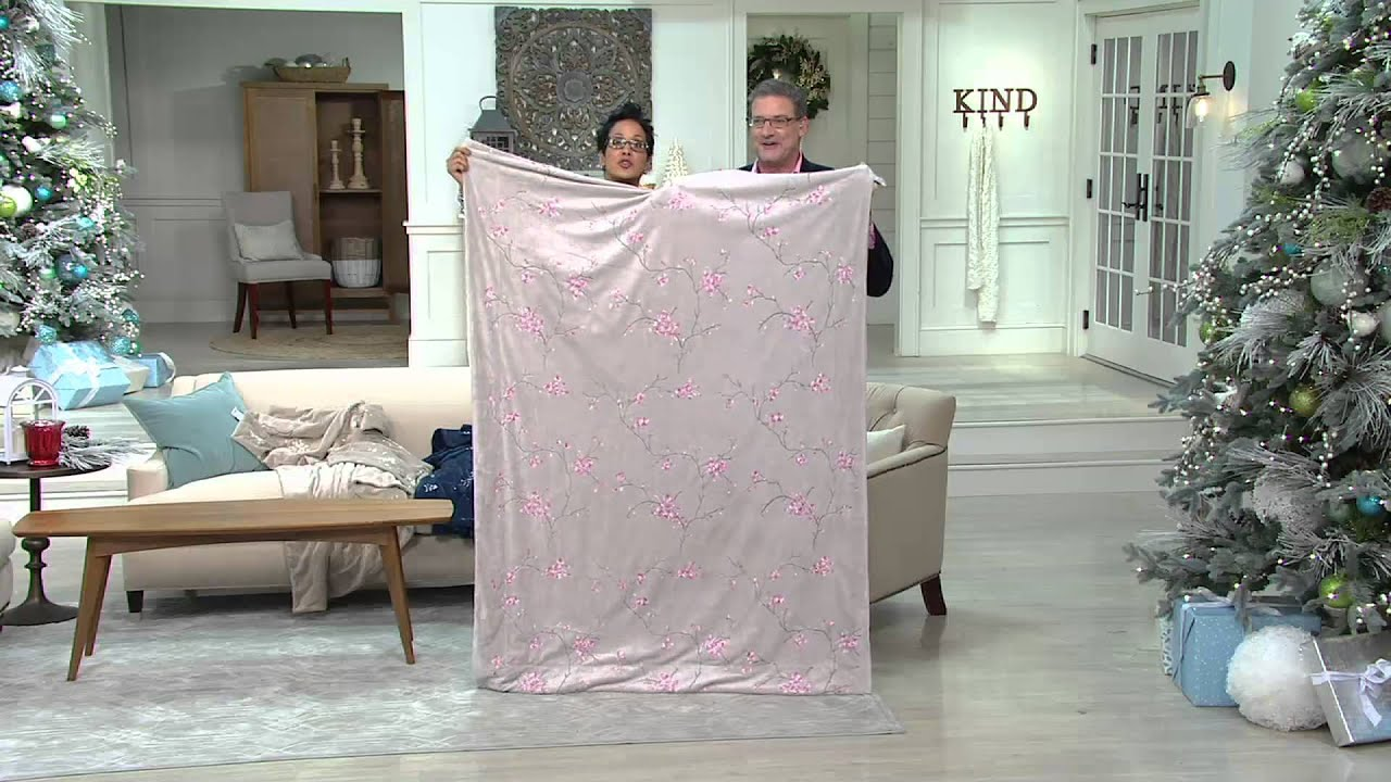 berkshire blanket 50 x70 cherry blossom embroidery luxe throw on qvc youtube. Black Bedroom Furniture Sets. Home Design Ideas