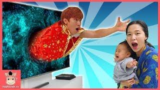 방탈출 하기! 몬스터호텔3 TV 속으로 빨려 들어간 국민이 말이야 (꿀잼 상황극ㅋ) ♡ 마법 망토 장난감 놀이 Kid Pretend Play | 말이야와아이들 MariAndKids