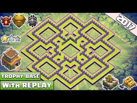 BEST! Town Hall 8 TH8 TROPHY Base and Farming Base 2017 With Replay Proof!! TH8 Hybrid Base Layout