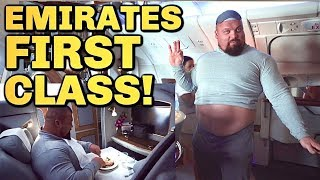 FIRST CLASS $20,000 EMIRATES FLIGHT! | Eddie Hall