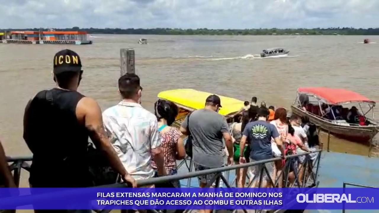 Movimento de embarque é intenso em direção às ilhas de Belém