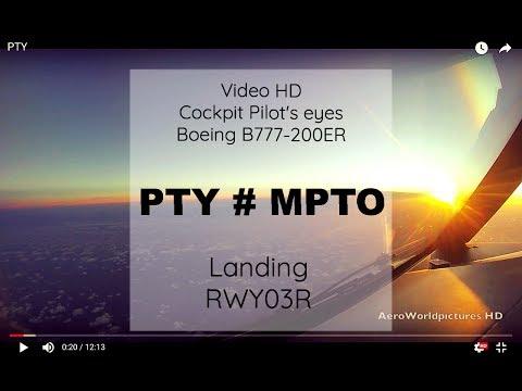 Cockpit | Landing ✈ PANAMA CITY ( PTY / MPTO ) Panama  ✈ B777 - RWY03R  [HD]
