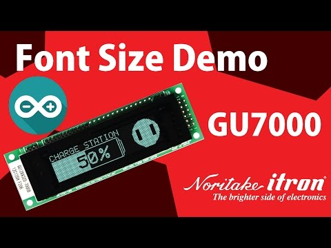 Noritake VFD: GU128X32D-7003 Font Size Demo using Arduino