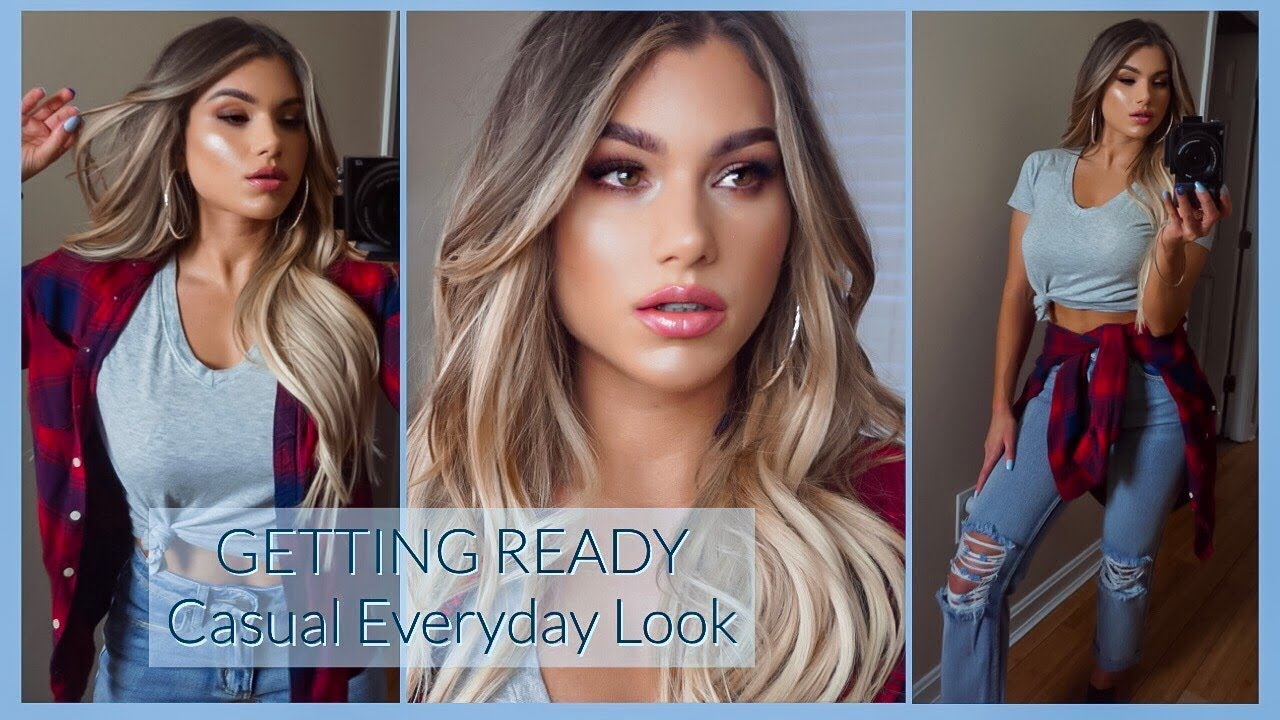 GRWM Casual Date Night 2019 | Outfit Makeup & Hair Transformation (Before & After!) 8