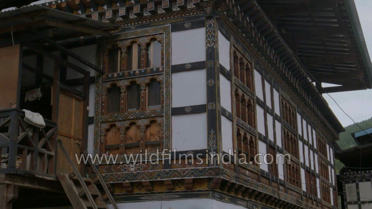 Traditional Bhutanese Home With Lucky Signs And Phallic Symbols
