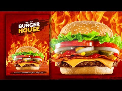 Gimp Tutorial : Burger House Poster | Food Poster Design thumbnail