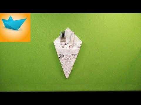 Origami of napkins cutlery / Оригами из салфеток для столовых приборов