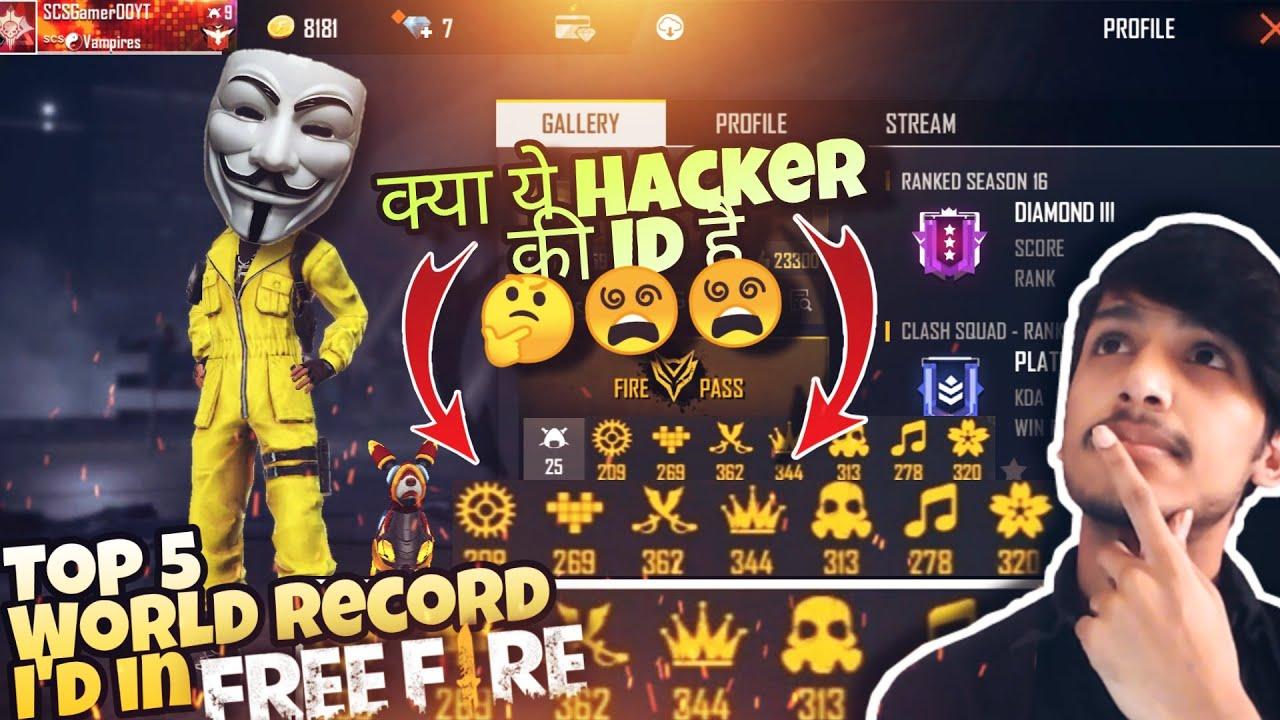 Download Top 5 [ WORLD RECORD ID ] in [ FREE FIRE ] क्या ये Hacker की Id  है   😲  😵  😵