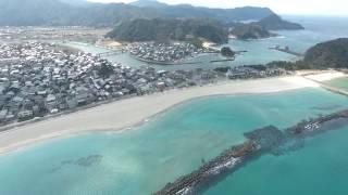 兵庫 竹野浜海水浴場 日本の渚100選にもなっている綺麗な海を空から