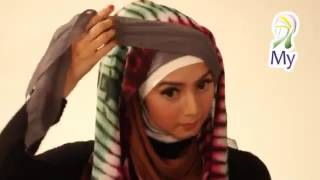 hijab selendang shawl terkini - Tudung Tutorial Two Tone Style - Arabic Tudung Style 2014
