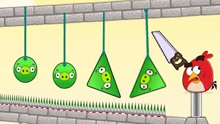 Angry Birds Pigs Out - CUT THE ROPE OF THE GREEN PIGS !