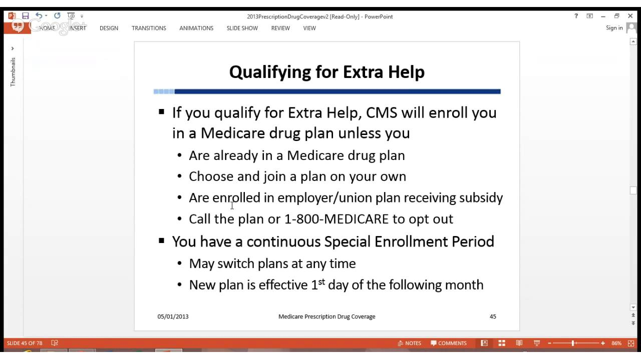 Medicare Prescription Drug Coverage  Lesson 5  Extra Help With Part D  Plan Costs