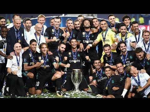 Selebrasi Real Madrid Angkat Trofi Piala Super Eropa 2017