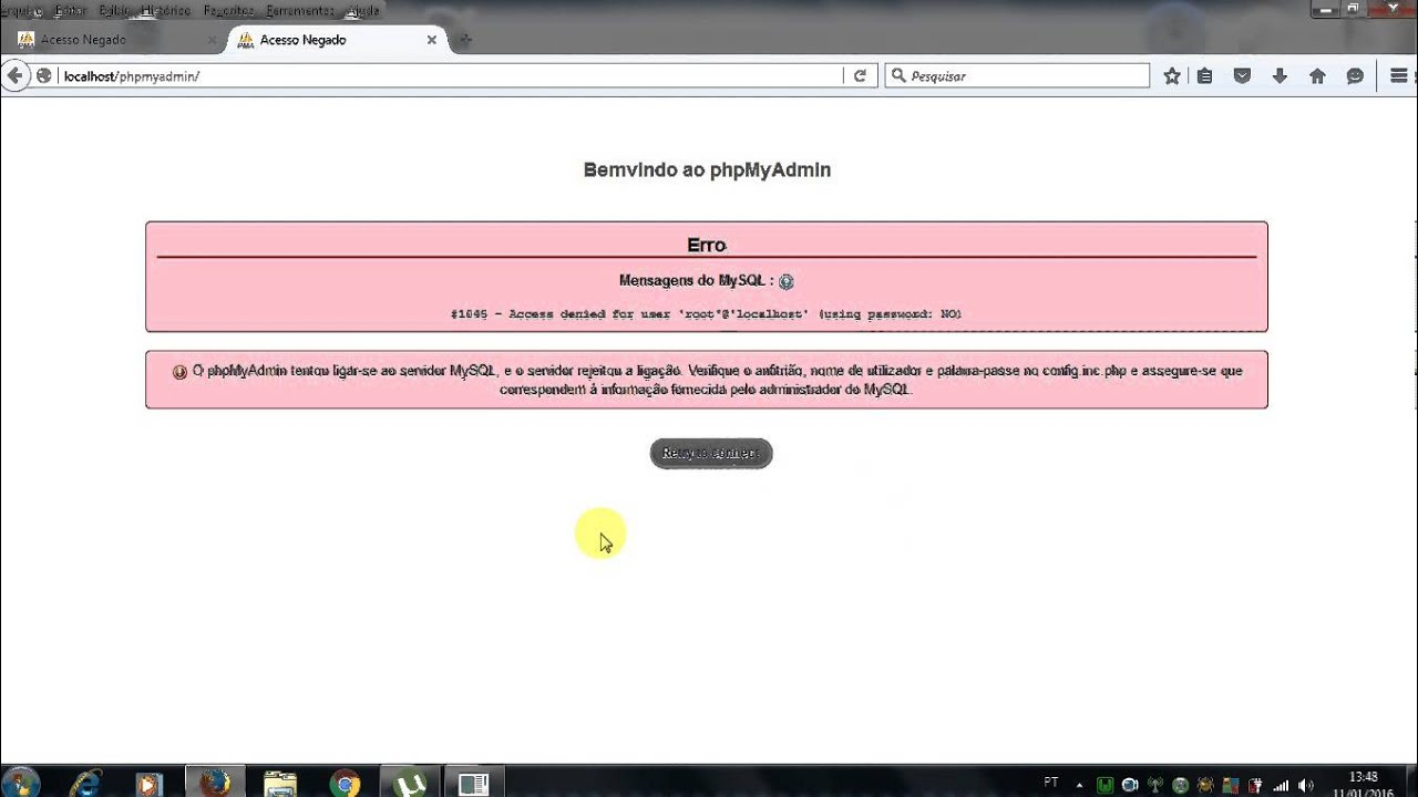 Phpmyadmin2016 - Erro 1045 Access Denied For User Root Localhost