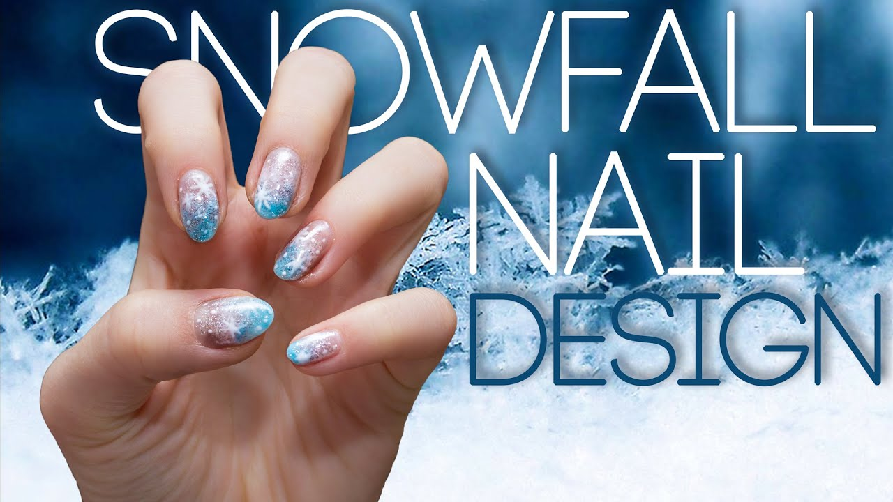 Snowfall Nail Design Gelish Nails At Home Youtube