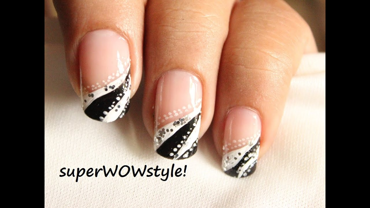French tip abstract nail designs easy nail art in black and french tip abstract nail designs easy nail art in black and white youtube prinsesfo Images