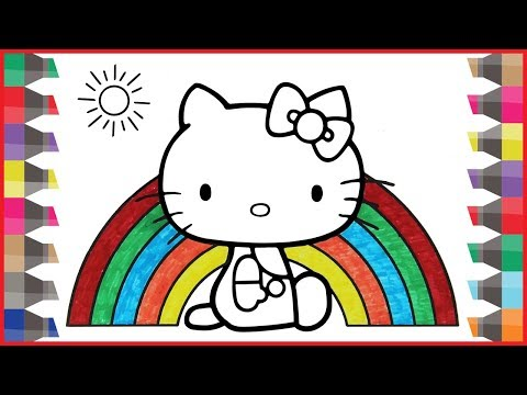 How to Draw A Rainbow Coloring Pages for Kids   Art Colours for Children   Hello Kitty Coloring Page
