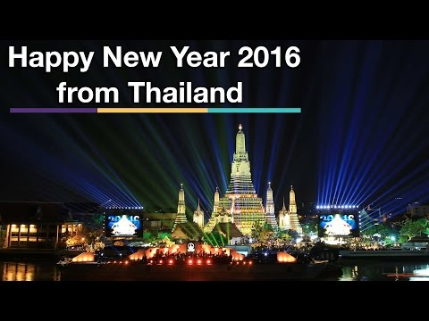 Fireworks & Light Show from Thailand Countdown 2016 at Wat Arun (Temple of Dawn)