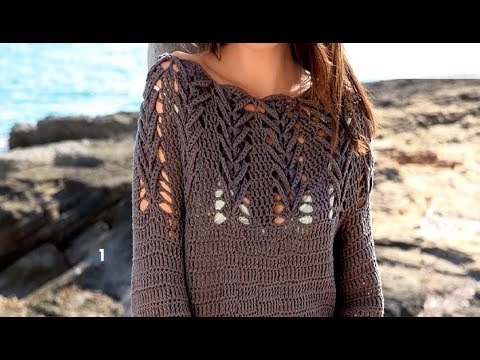 Узор крючком для платья с круглой кокеткой - Crochet Pattern For A Dress With A Round Yoke