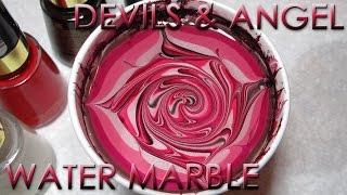 Devils & Angel Water Marble | DIY Nail Art Tutorial